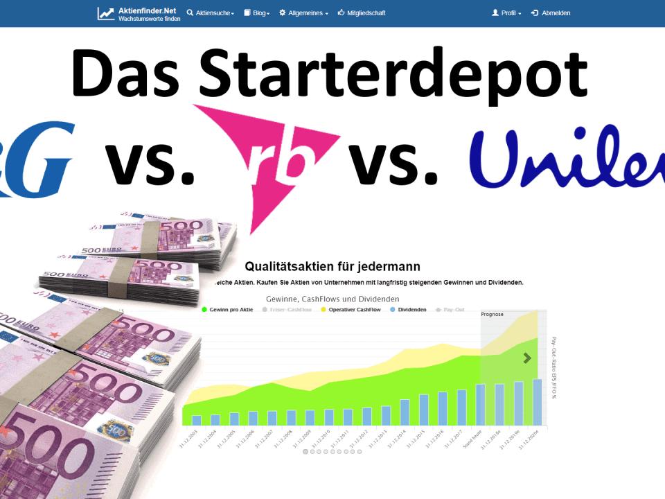 Aktienfinder - Das Starterdepot - Aktienduell - Unilever vs Procter & Gamble vs Reckitt Benckisser