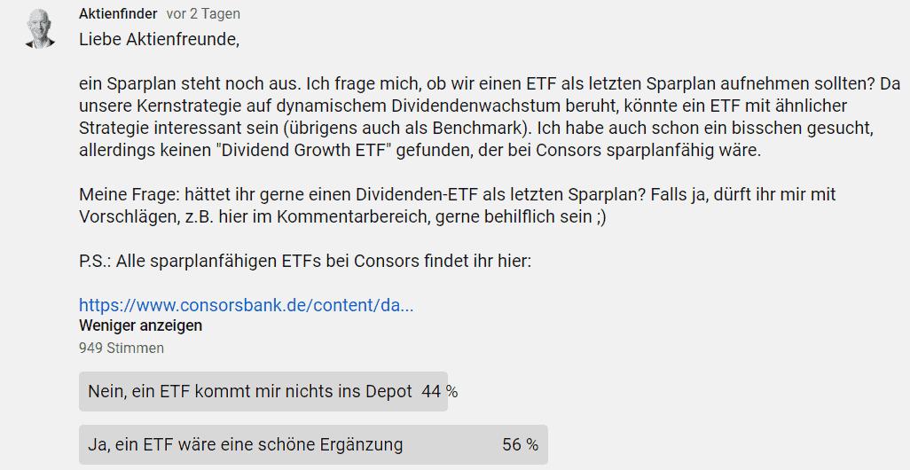 Abstimmungsergebnis für und wider einens ETF-Sparplans im Starterdepot