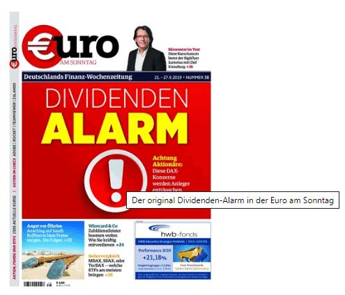 Referenz des original Dividenden-Alarm auf die Euro am Sonntag