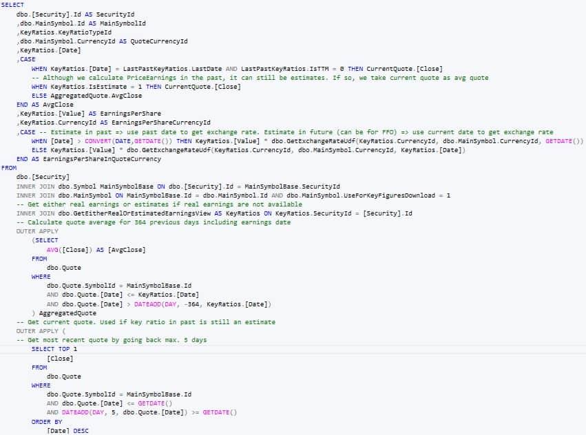 Wenige Dutzend von vielen tausend Codezeilen für die Berechnung der Kennzahlen und Zeitreihen