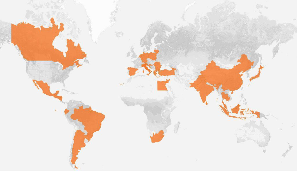Weltkarte der Fabriken von Nike