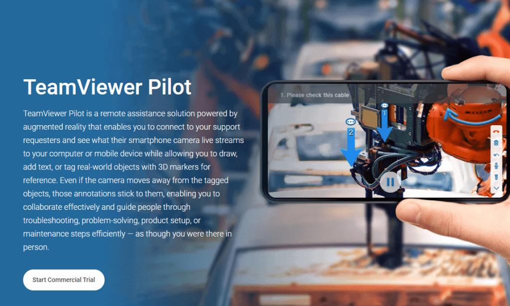 TeamViewer Pilot ist eins von zwei Hauptprodukten aus dem AR-Bereich, Quelle: Webpage