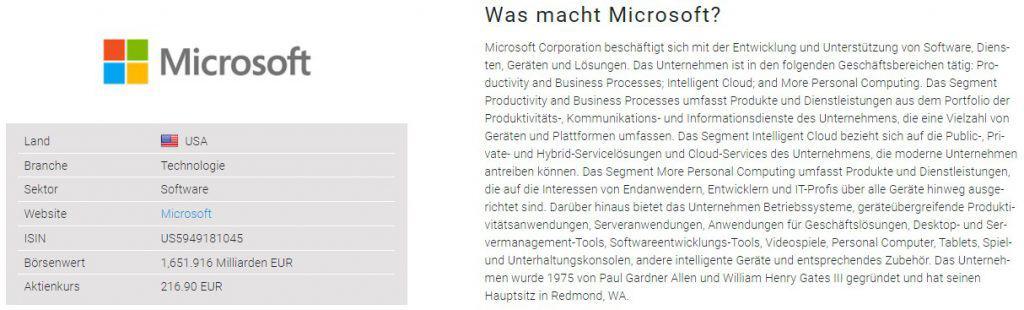 Das Unternehmensprofil von Microsoft