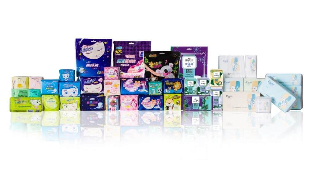 """Produkte und Marken von Hengan International wie """"Space 7"""", """"Anerle"""" und """"Anle"""" aus dem """"Sanitary Napkins"""" Segment, Quelle: Hengan International webpage"""