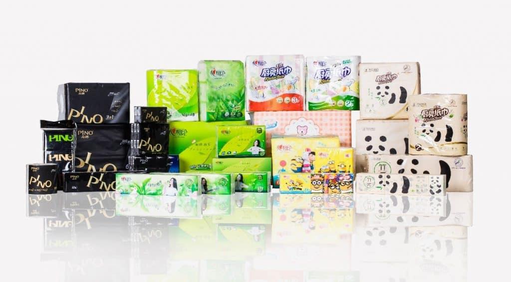 """Typische Produkte und Marken von Hengan International aus dem """"Tissue Paper"""" Segment, Quelle: Hengan International webpage"""